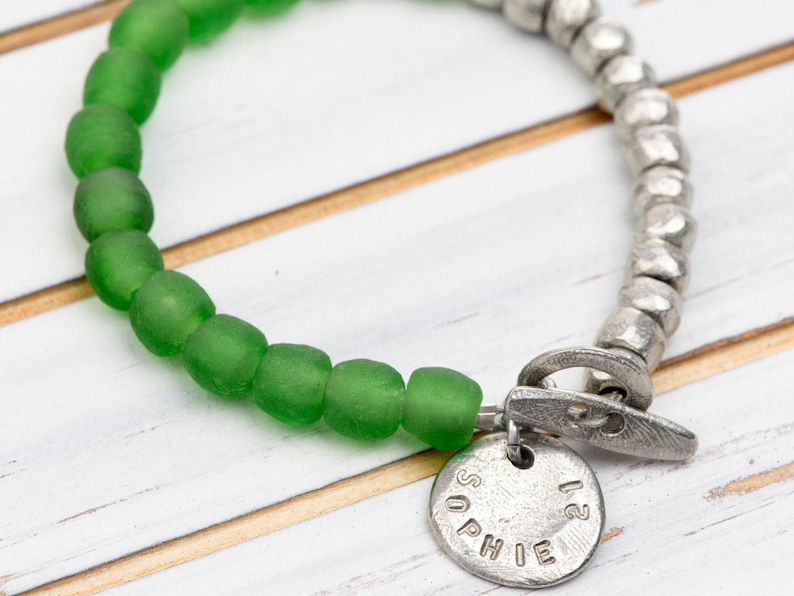 5f4713cdbd711 Recycled Green Glass Bead Bracelet - Recycled Jewellery - Personalised  Bracelet - Mothers Day Gift - Gift for Her - 30th Birthday Jewellery