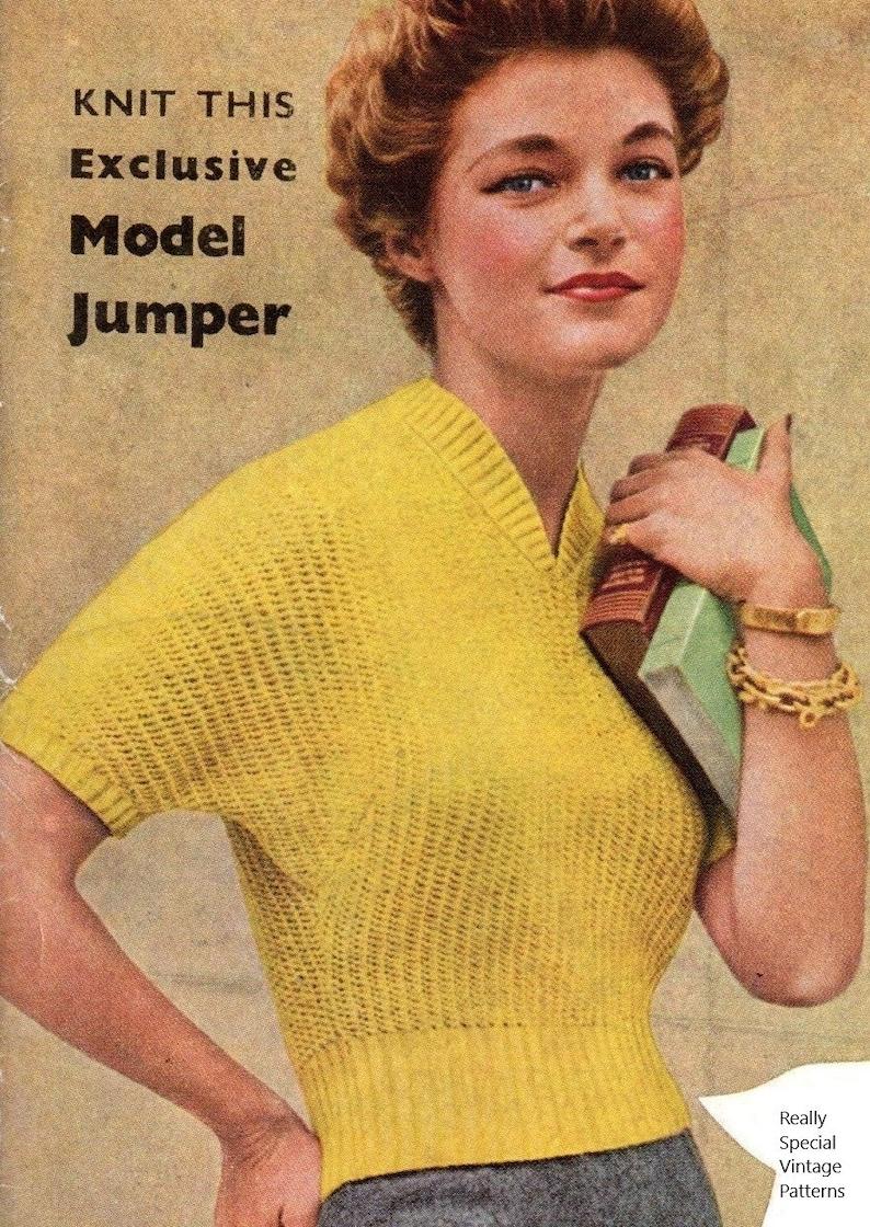 13620d1d6 Jumper for Ladies 1950s Vintage Knitting Pattern Pdf Instant