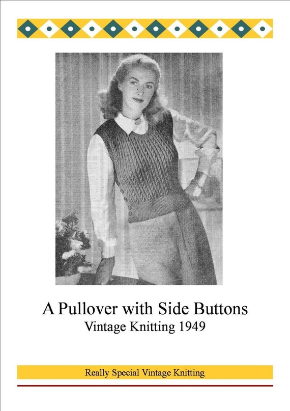 1940s Vintage Knitting Pattern Pdf Vest Tank Top With Side Button