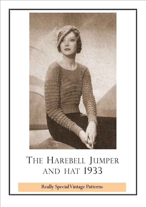 41f603414e71c 1933 Ladies Harebell Sweater and Hat Vintage Knitting Pattern