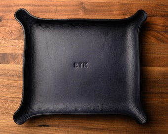 MONOGRAMMED Leather Catchall - Large, Black (groomsmen gift, personalized valet tray, custom tray, gift for him, anniversary gift for him)