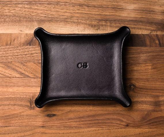 En cuir fourre tout petit noir monogramme valet plateau