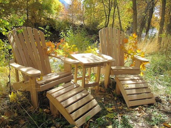 Marvelous 2 Adirondack Chairs 2 Ottomans And 1 End Table Unfinished 99 Clear Wood Unemploymentrelief Wooden Chair Designs For Living Room Unemploymentrelieforg