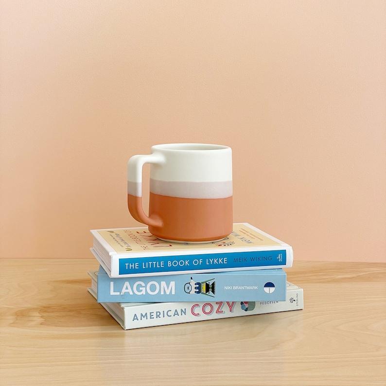 The Danish Mug  Modern Handmade Ceramics  Dipped Glaze Persimmon + White