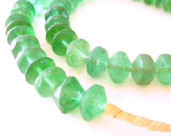 Vaseline Bead Necklace - a rare strand of African Trade beads from Mali - 25 inches, 50 beads