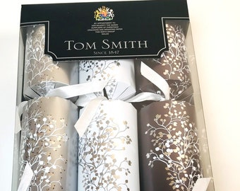 tom smith luxury silver gray and white assorted christmas party crackers set of 6bonus place cardsfree shipping