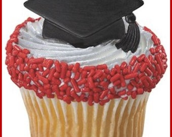 24 Graduation Cap Cupcake Ring Toppers/Favors! NEW! Party Supplies