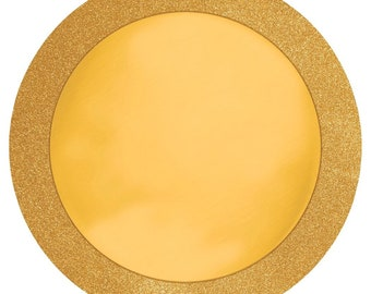 Glitz and Gold Round Placemats w/Glitter Border (8 count)-NEW