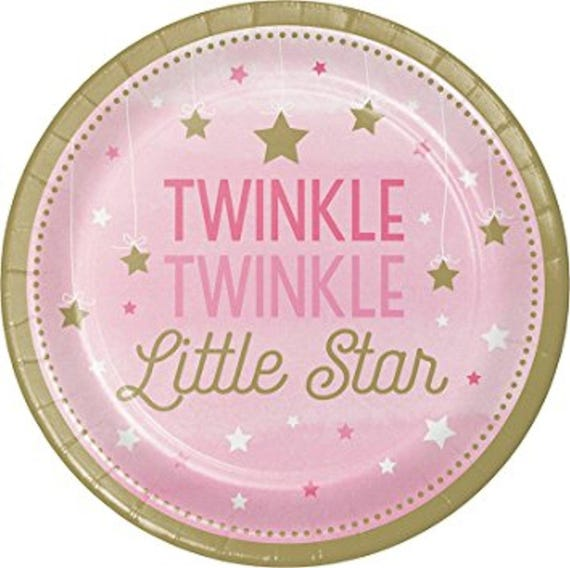 One Little Star Girl Appetizer//Dessert Plates-Set of 8-NEW-7 in round