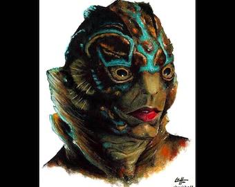 "Print 8x10"" - Amphibian Man - The Shape Of Water Guillermo Del Toro Doug Jones Fantasy Lowbrow Pop Art Dark Art Monster Horror Creature"
