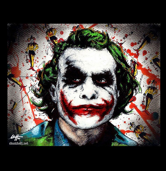 Print 11x14 Joker Batman Dark Knight Heath Ledger Christian Bale Dark Art Super Villian Hero Lowbrow Art Pop Gotham City Crime Clown