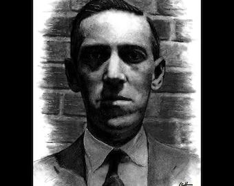 "Print 8x10"" - H.P. Lovecraft - Horror Science Fiction Cthulhu Literature Gothic Dark Art Surreal Books Fantasy Lowbrow Literature Monster"
