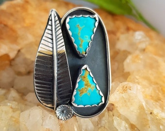 Double Kingman Turquoise Arrow Botanical Sterling Artisan Ring