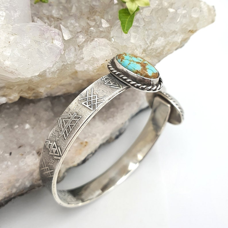 Rare 8 Mine Turquoise Southwestern Sterling Cuff