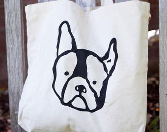 Organic Cotton Shopper Tote Frenchie Dog