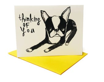 Thinking of You Boston Terrier Card