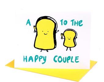 NEW Punny Toast Wedding Card