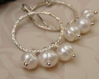 Pearl Hoop Earrings, Ivory Pearl Open Circle Earrings, Sterling Silver Freshwater Pearl Earrings, Pearl Bead Cluster Hoop Earrings
