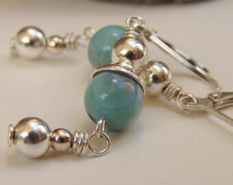 Larimar Earrings, Leverback Earrings, Sterling Silver Earrings, Larimar Dangle Earrings, Larimar Drop Earrings, Silver Gemstone Earrings