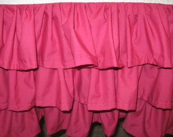 Coral Gradient Peach to Coral 3 Tiered Ruffled Crib Skirt