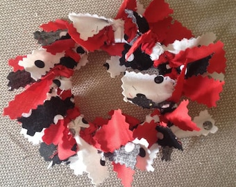 2 Mini Red Black White Fabric Christmas Wreath Ornaments or Your Choice of Colors - Made to Order - Customizable