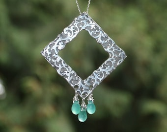 Silver pendant. Sterling Large organic necklace. Simple elegan necklace with mint color gems. Artisan jewelry.