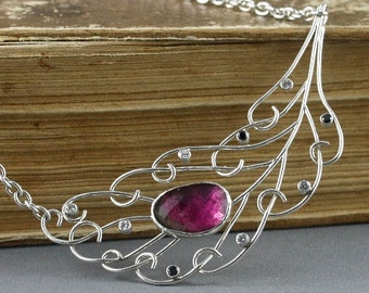 Sterling silver Peacock Feather necklace. Pink tourmaline jewelry. Elegant jewelry.