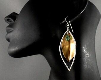 Boho earrings. Gold leaf earrings (brass). Mixed metal earrings. Long dangle earrings..
