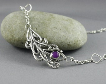 Keepsake jewelry. Sterling silver Peacock Feather necklace. Sugilite jewelry. Elegant jewelry.