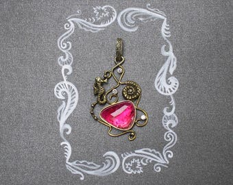 Pink tourmaline necklace. Seahorse necklace. Gold plated sterling silver pendant.
