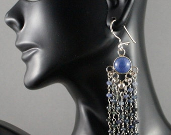 Long ombre sapphire chandelier earrings with dumotorite. Boho chic. ooak