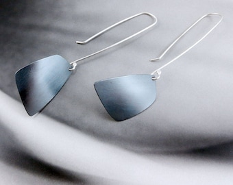 Arise // Long Sterling Silver Earrings with Abstract Shape