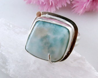 Unique Larimar Ring in Sterling Silver with 14K Gold Accent and Hummingbird Cutout