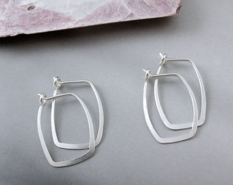 Small Sterling Silver Hammered Rectangle Hoops - One Pair