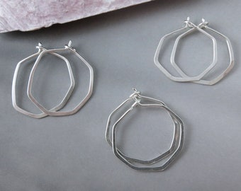 Small Sterling Silver Hammered Facet Hoops - One Pair