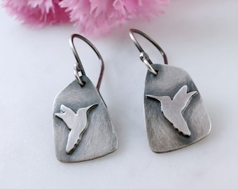 Hummingbird Earrings in Sterling Silver with Patina - Small Earrings
