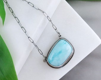 Larimar Necklace with Sterling Silver and a Hidden Blue Jay Cutout