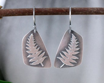 Fern Earrings in Sterling Silver with Patina