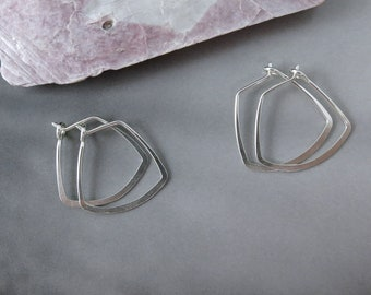 Small Sterling Silver Hammered Hoops - One Pair