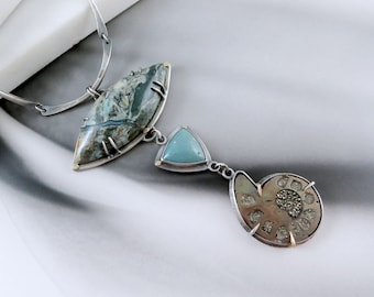 Rising from the Sea Necklace - Featuring Rare Plasma Agate, Leland Blue, and Pyritized Ammonite in Sterling Silver and 14k Gold