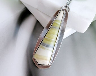 """Long Green Banded Serpentine Necklace with a Hidden Pine Tree 31"""" Long"""