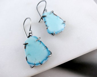 Lavender Turquoise Earrings in Oxidized Sterling Silver