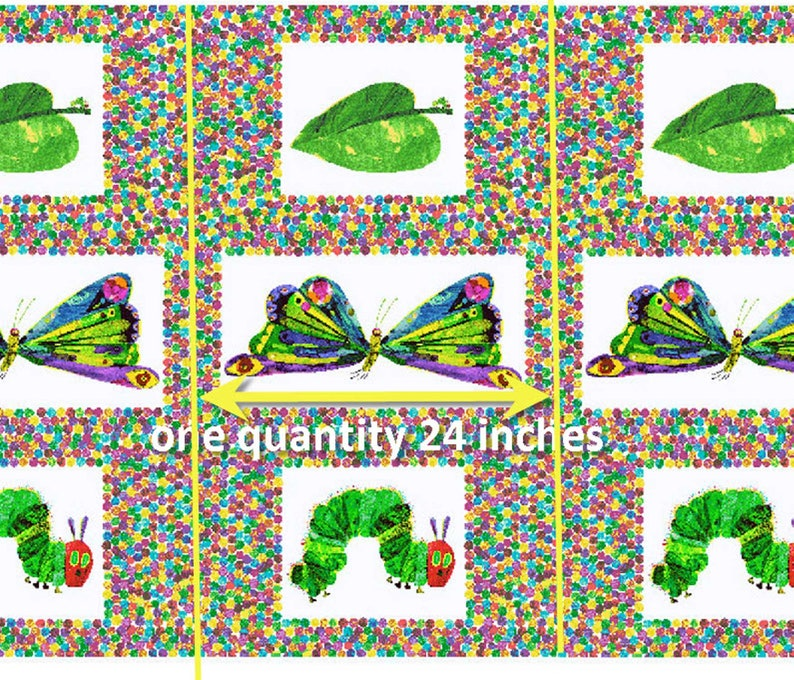 The Very Hungry Caterpillar Butterfly Panel 100/% Cotton Fabric Panel 3471