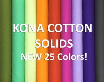 Robert Kaufman KONA Cotton Solid New 25 colors 2019 by the 1/2 yard, just arrived!