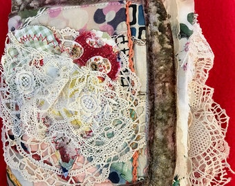 Vintage Fabric Junk Journal, Prayer Journal, Handmade Journal, Vintage Fabric, Vintage Lace