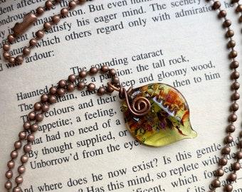 Spring Leaf Glass Necklace