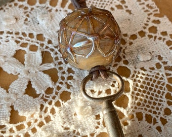 Summer Lantern Glass Bead and Vintage Key Necklace