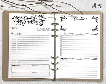 Printable Daily Planner, A5 Daily Planner, Printable daily planner A5 inserts, Journal Page PDF file