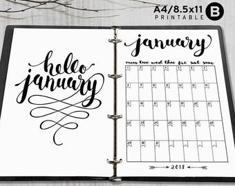 Printable 2018 Monthly Planner, Hello 2018 Monthly Planner, A4 - 8.5x11 2018 Monthly planner inserts, PDF file