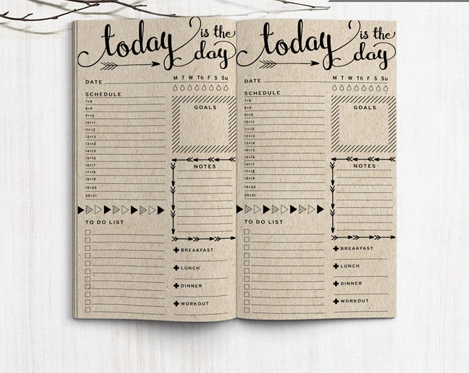 Printable Bullet Journal Inserts, Midori Daily Spreadsheet Inserts, Printable Midori Traveler's Notebook Daily planner inserts, PDF file